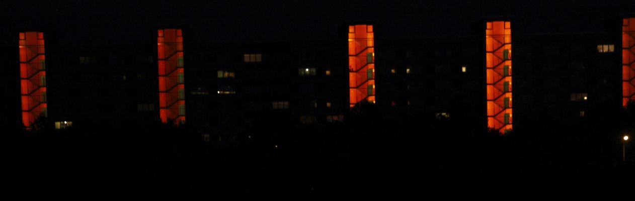 Altstadt, Architektur, Dresden, Farbe, Licht, orange, rot, Treppe, Treppenhaus