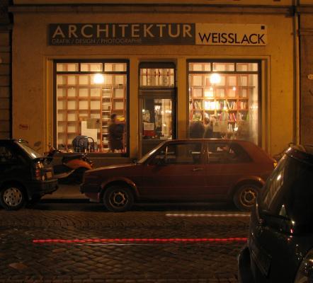 Architektur, Architekturbuchhandlung Weisslack, Dresden, Fahrrad, farbig, grafisch, Licht, Neustadt