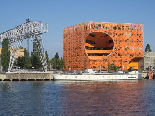 Architektur, Confluence, Frankreich, Lyon, orange, Rhone, Saône