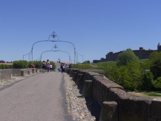 Brücke, Carcassonne, Frankreich, Languedoc-Roussillon