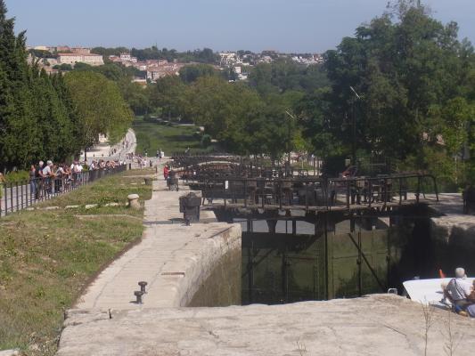 Beziers, Canal du Midi, Frankreich, Languedoc-Roussillon