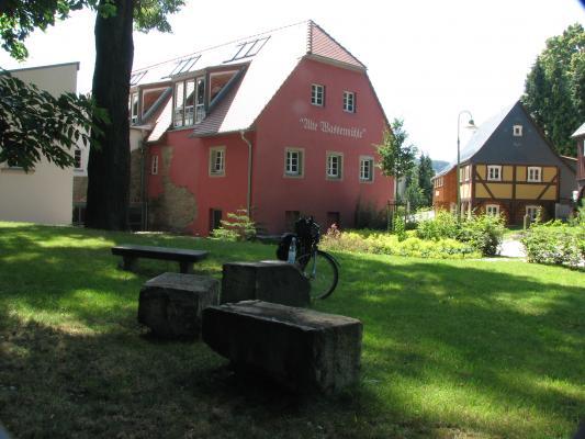 Rastplatz, idyllisch, Fahrrad, Mühle