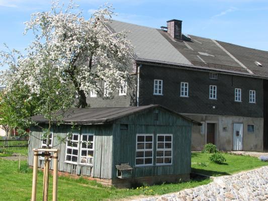 Architektur, Baum, Blüte, Frühling, Großharthau