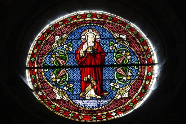 Avallon, bunt, Burgund, farbig, Frankreich, Glas, grafisch, Kirche, Yvonne