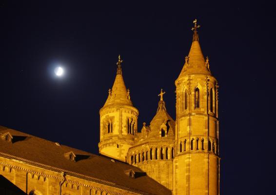 Architektur, Kirche, Mond, Nacht, Rheinland-Pfalz, Romanik, Turm, verwendet in|Kalender 2010, Worms