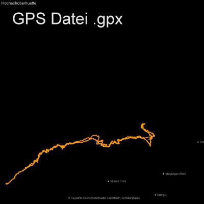 Hochschoberhuette, Leibnitzalm, Schobergruppe, Höhenmeter 650m, Länge 11km, GPX Route, GPS Daten