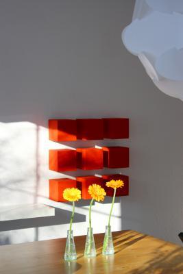 Blumen, farbig, Gerbera, grafisch, Innenarchitektur, orange, rot