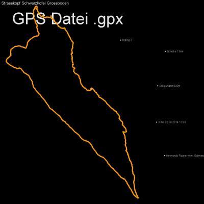Roaner Alm, Schwarzkofel, Strasskopf, Grossboden , Höhenmeter 900m, Länge 11km, GPX Route, GPS Daten