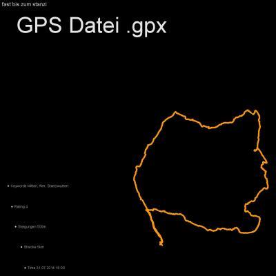 Mitten, Alm, Stanziwurten, Höhenmeter 500m, Länge 5km, GPX Route, GPS Daten
