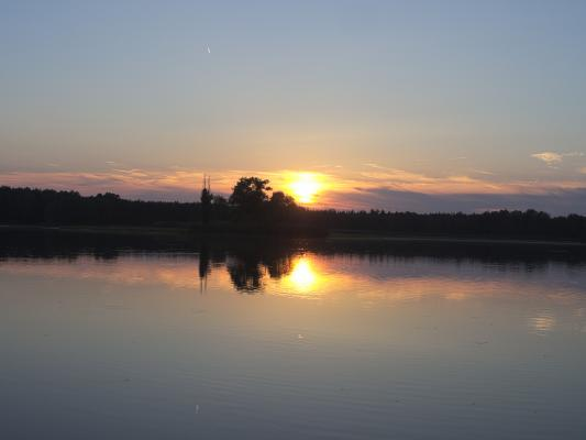 Abendsonne, Sonnenuntergang, Teich