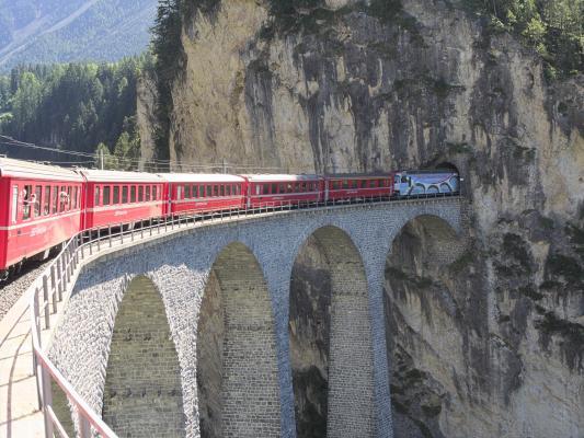 Eisenbahn, Graubünden, Rhätische Bahn, Schweiz, Tunnel, Viadukt