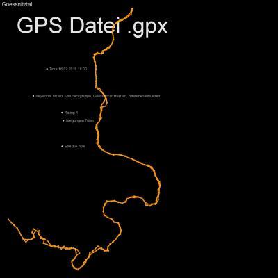 Mitten, Kreuzeckgruppe, Goessnitzer Huetten, Baerenebenhuetten, Höhenmeter 700m, Länge 7km, GPX Route, GPS Daten