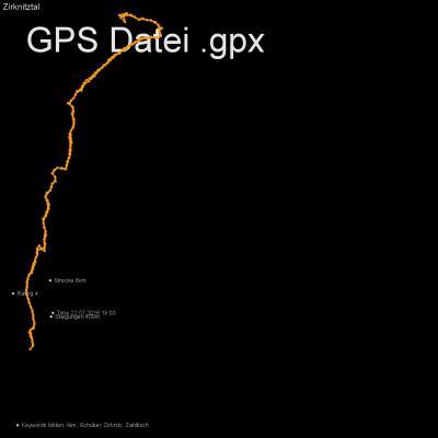 Mitten, Alm, Schober, Zirknitz, Zahltisch, Höhenmeter 400m, Länge 6km, GPX Route, GPS Daten